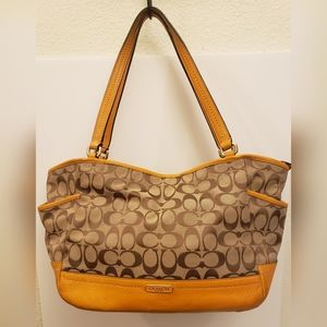 COACH Khaki Signature Carrie Tote Handbag Purse